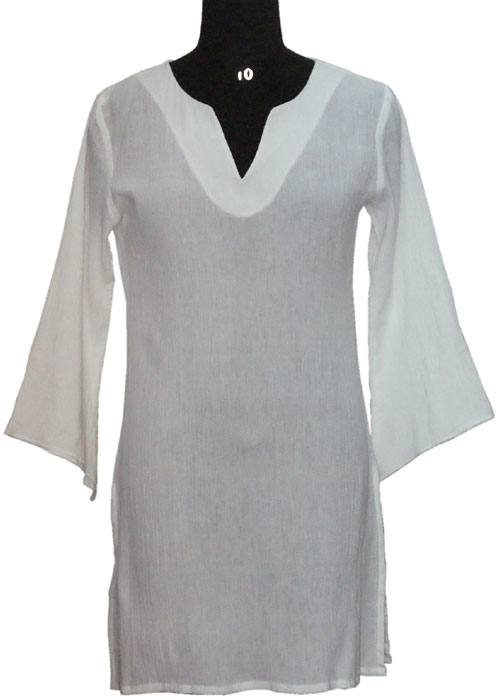 Plain Tunic Plain Whit Cotton Ladies Tunic